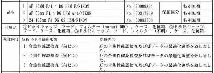 SIGMA 24-105mm F4 DG OS HSM 導入と工場ピント調整